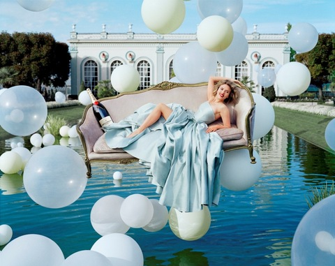 Scarlett Johansson surrounded by Moet and balloons