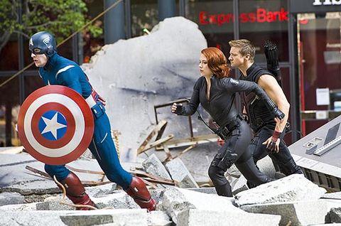 Scarlett Johansson in New York filming The Avengers