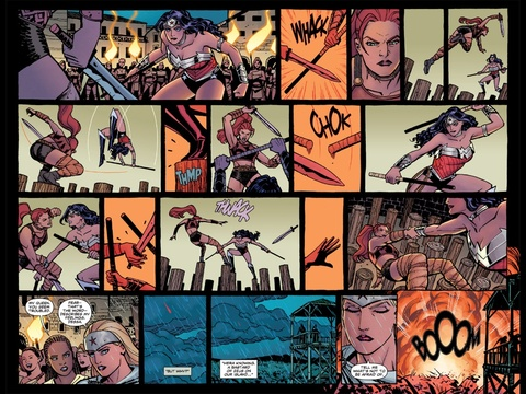 Wonder Woman fighting with an Amazon who isn't Artemis