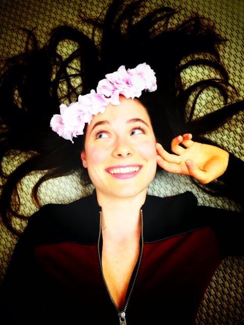 Caroline Dhavernas in a floral crown