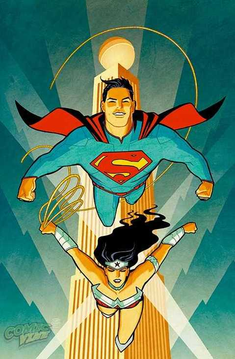 Cliff Chiang variant cover to Superman/Wonder Woman #1