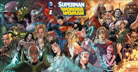 The gatefold cover for Superman/Wonder Woman #1