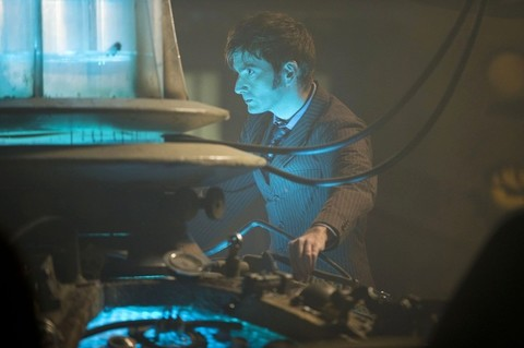 David Tennant by the TARDIS console in Day of the Doctor