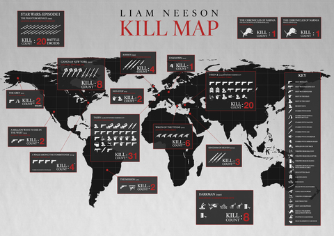 The Liam Neeson Kill Map