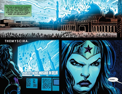 A Mosque is zapped by Zeus. Wonder Woman is not pleased