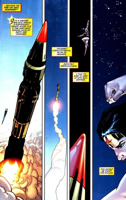 Wonder Woman gets ready to punch a nuclear missile