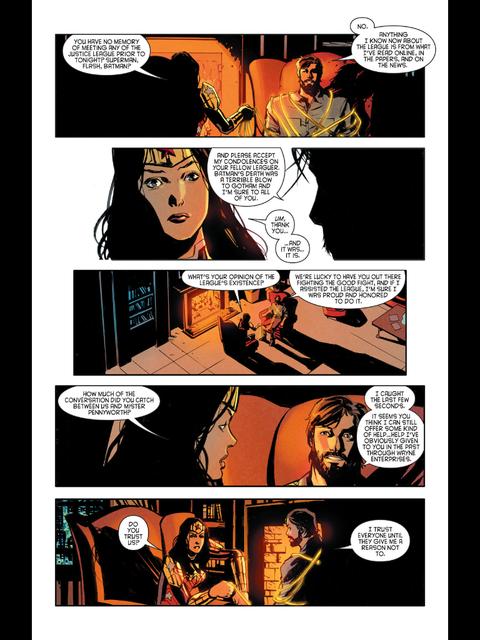Wonder Woman interrogates Bruce Wayne