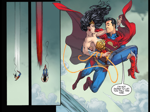 Superman saves Wonder Woman