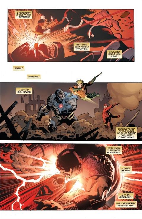 Wonder Woman sticks a sword in Darkseid's eye in Superman: Lois and Clark #1