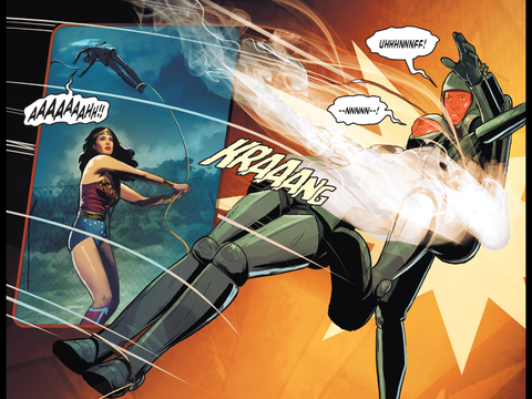 Wonder Woman wins against the Atomic Knights
