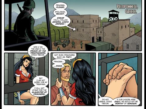 Steve Trevor visits Wonder Woman in prison