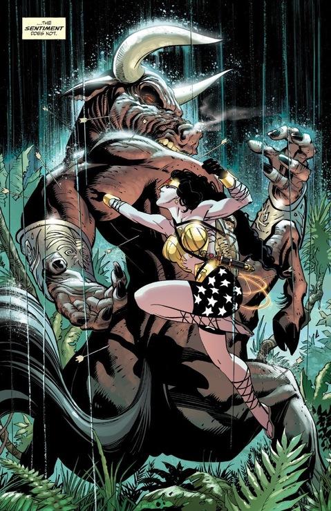 Wonder Woman fights a minotaur