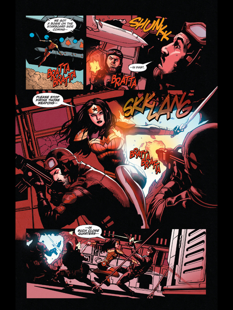 Wonder Woman defeats the soldiers