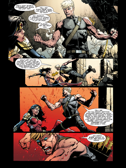 Aegeus and Wonder Woman fight