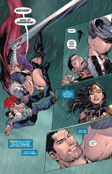 Superman winks at Wonder Woman