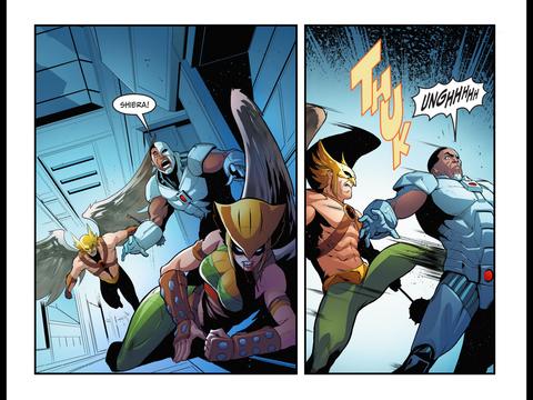 Cyborg gets beaten by Hawkman