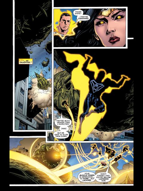 Sinestro is impressed by Wonder Woman's strength