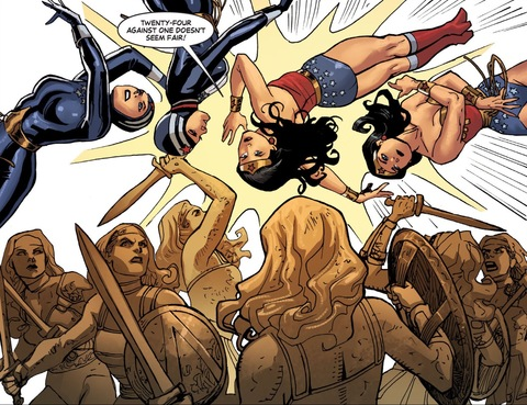 Wonder Woman changes costume to defeat Clayface's Amazons