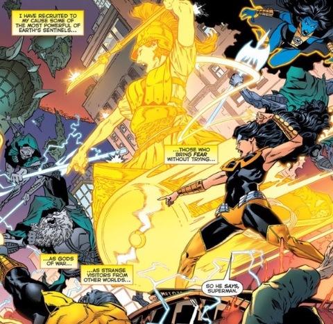 Wonder Woman wearing a yellow ring