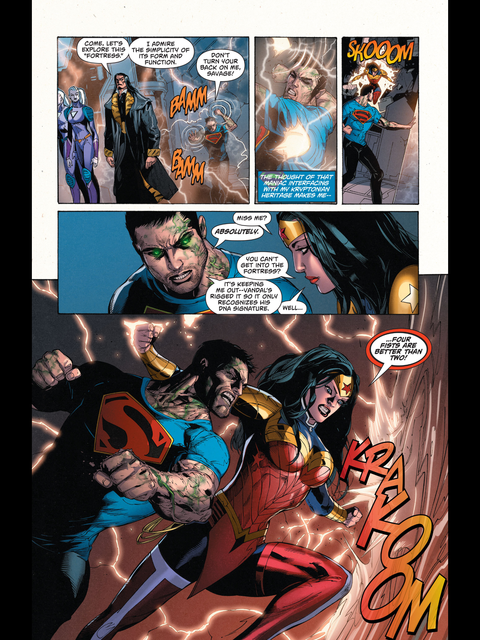 Superman and Wonder Woman do some punching at Vandal Savage's new HQ