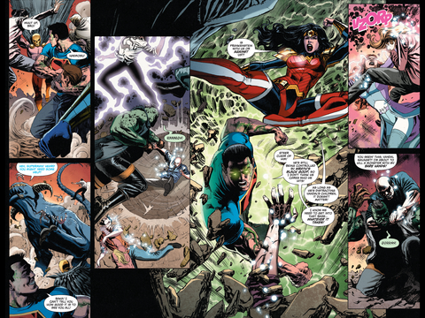 A fight between the Justice League and Vandal Savage's kids