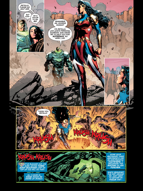 Wonder Woman and Metallo dig out Superman