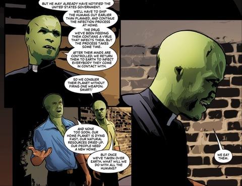 Green lizard aliens infecting people
