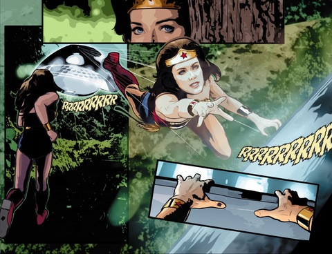 Wonder Woman jumps up to the UFO