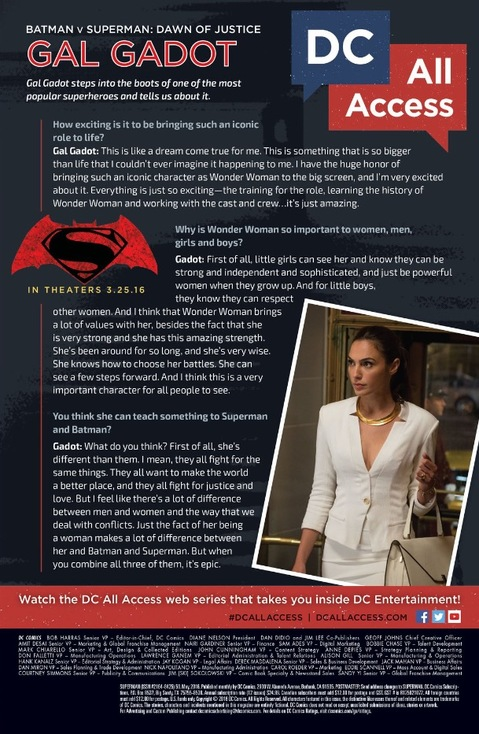 Gal Gadot interviewed in the back of DC Comics