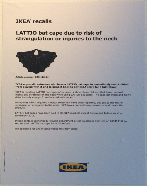 Ikea wants its bat capes back