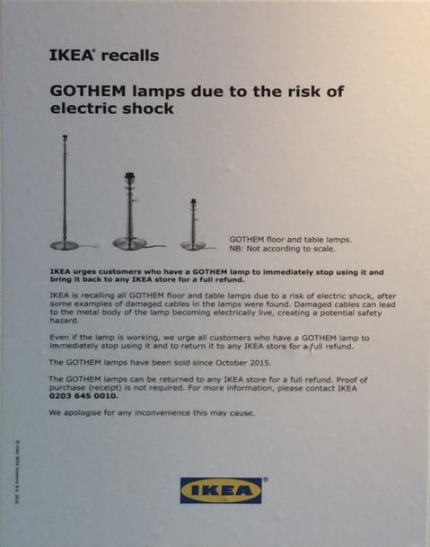 Gothem lamp recalled
