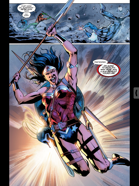 Wonder Woman arrives with the spear of Zeus