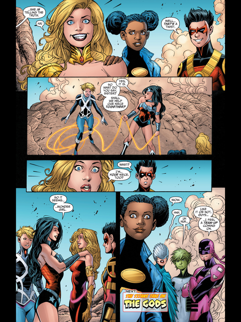 Wonder Girl and Wonder Woman united