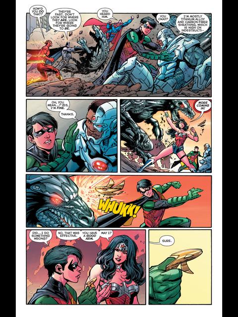 Wonder Woman has a good throwing arm