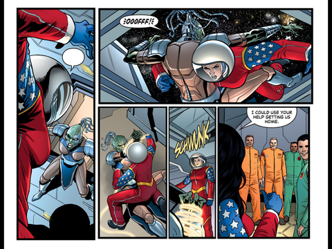Wonder Woman saves the cosmonauts