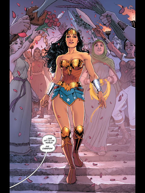 Diana arrives in her costume