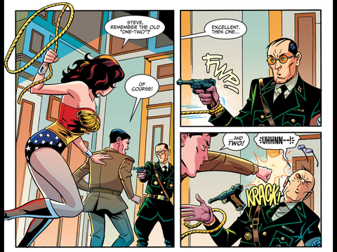Wonder Woman and Steve beat up some Nazis