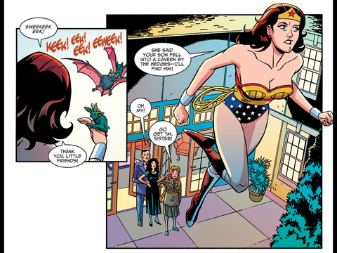 Wonder Woman talks to bats