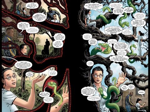 Wonder Woman talks to a snake