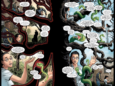 Wonder Woman talks to a snake