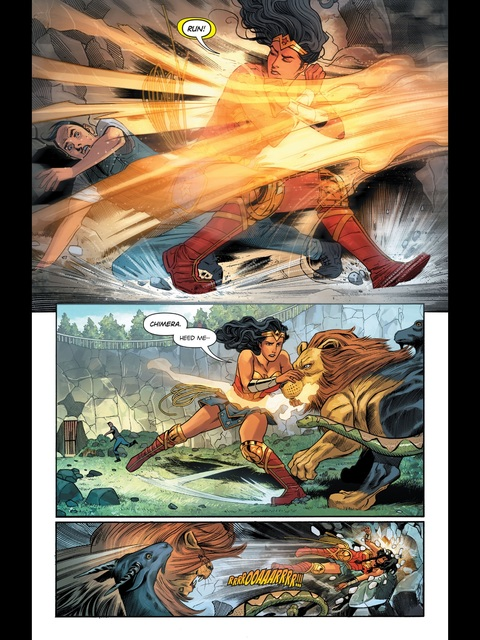 Wonder Woman saves a zoo worker