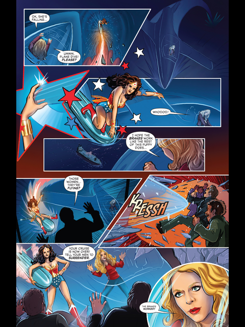 Wonder Woman flies on a missile